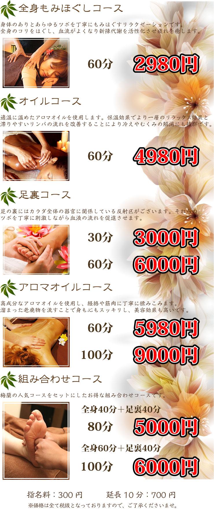 【癒し空間】梅蘭料金表